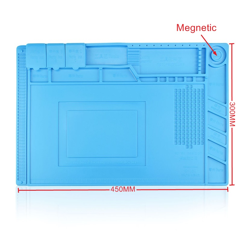 45x30cm Heat Insulation Silicon Pad Desk Mat Maintenance Platform S-160 for BGA Soldering Repair Station with Magnetic Section heat pad