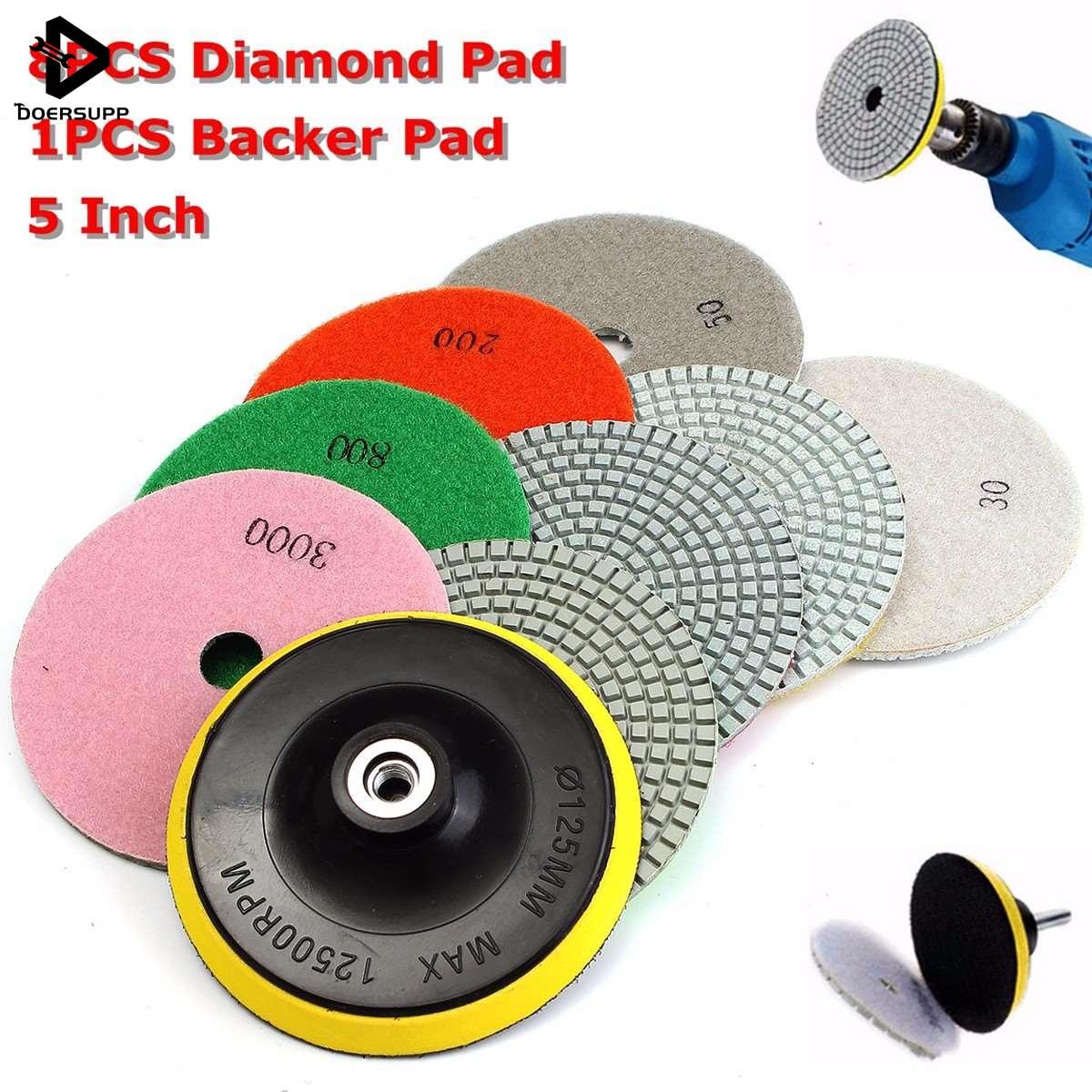 9pcs/set 5 Inch Diamond Polishing Pad Set Granite Marble Concrete Stone Tile Wet Dry For Granite Concrete Marble Stone Tiles бордюр versace marble torello marrone 4x58 5