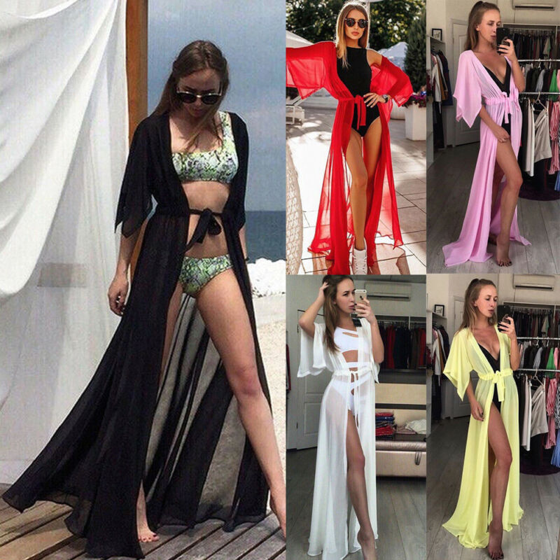 Summer Women Bikini Long Cover Up Cardigan Lace-up Swimwear Chiffon Floor Length Maxi Long Dress Beach Bathing Suit