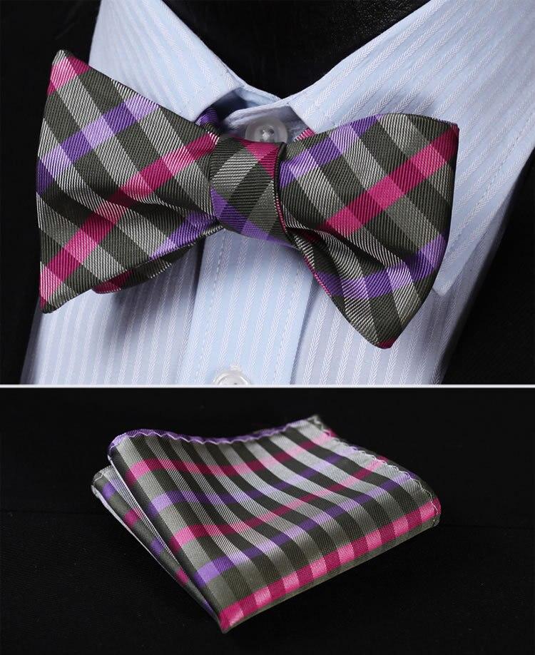 BC327P Purple Pink Check 100%Silk Jacquard Woven Men Butterfly Self Bow Tie BowTie Pocket Square Handkerchief Hanky Suit Set