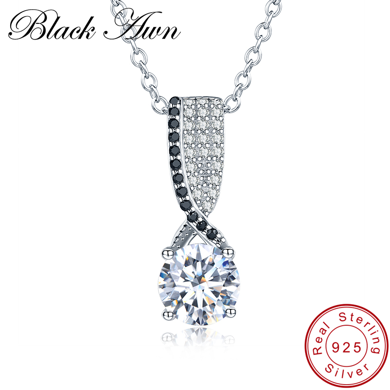 [BLACK AWN] 925 Sterling Silver Fine Jewelry Trendy Engagement Necklace for Women Wedding Pendants P013