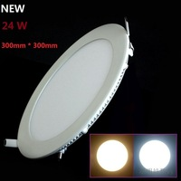 Ultra thin design 24W LED ceiling recessed grid downlight / round panel light 300mm, 1pc/lot free shipping