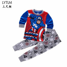 LYTLM Captain America Cosplay Costume Kids Boys Sleepwear Cartoon Pajamas Children New Year Homewear Pajamas For Boy Clothes Set