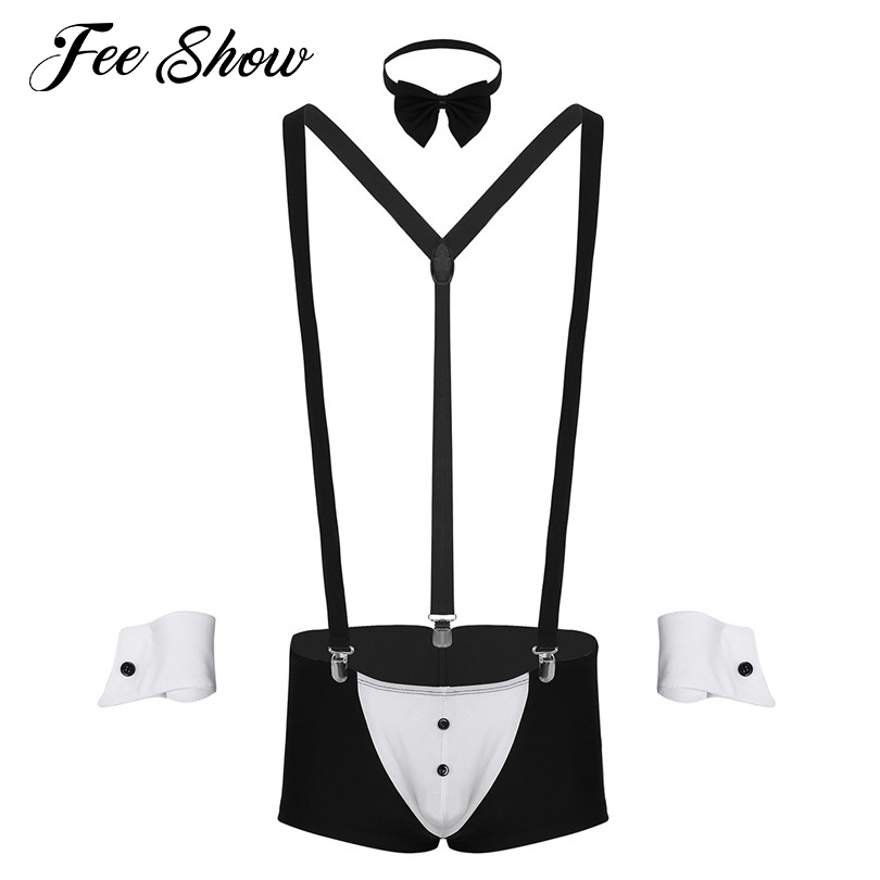 Men's Sexy Sissy Panties Gay Underwear Lingerie Sets Boxer Underwear with Suspender Shoulder Straps Bow Tie Collar and Bracelets
