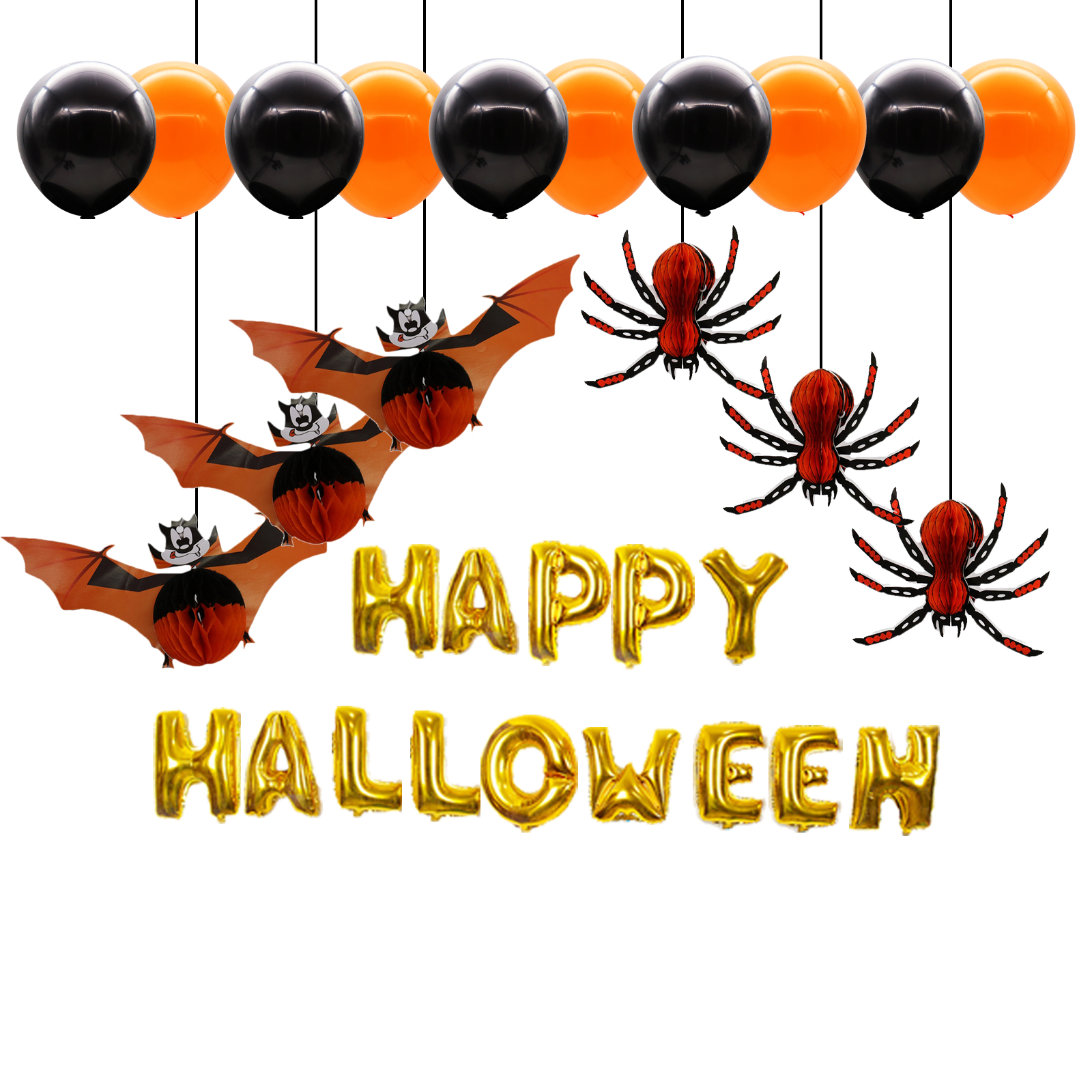 Happy Halloween Tips On Home Decoration 1: 1 Set Halloween Party Decoration Supplies Gold Letters