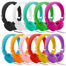 Adjustable Foldable Kid Wired Headband Earphone Headphones with Mic Stereo Bass gaming Music Calling Phone Call 20(China)