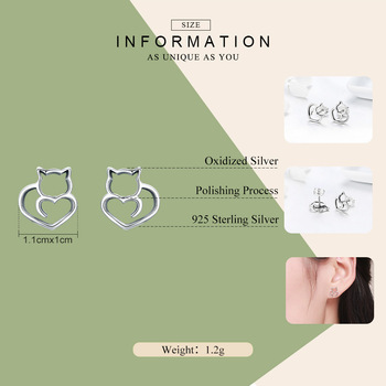 BAMOER Hot Sale Authentic 925 Sterling Silver Cute Cat Small Stud Earrings for Women Fashion