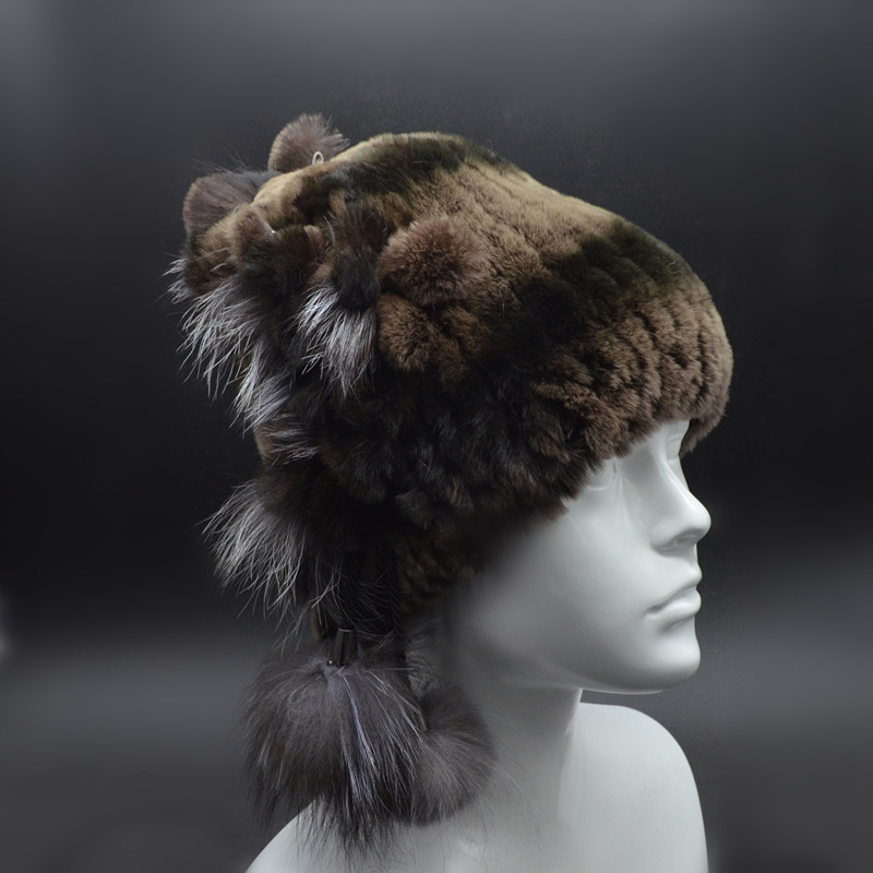 ФОТО 2017 New Rex Rabbit Fur Winter Hats Female For Women Vintage Flower Top Casual Solid Knitted Caps Skullies Warm Beanies M3020