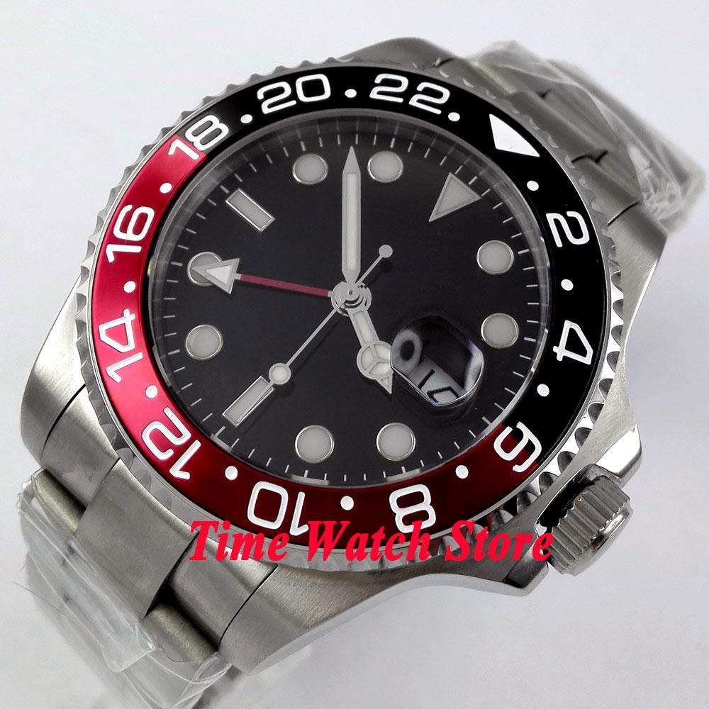 Bliger watch 43mm black Sterile dial Luminous hands GMT Bezel sapphire glass Automatic movement Men s