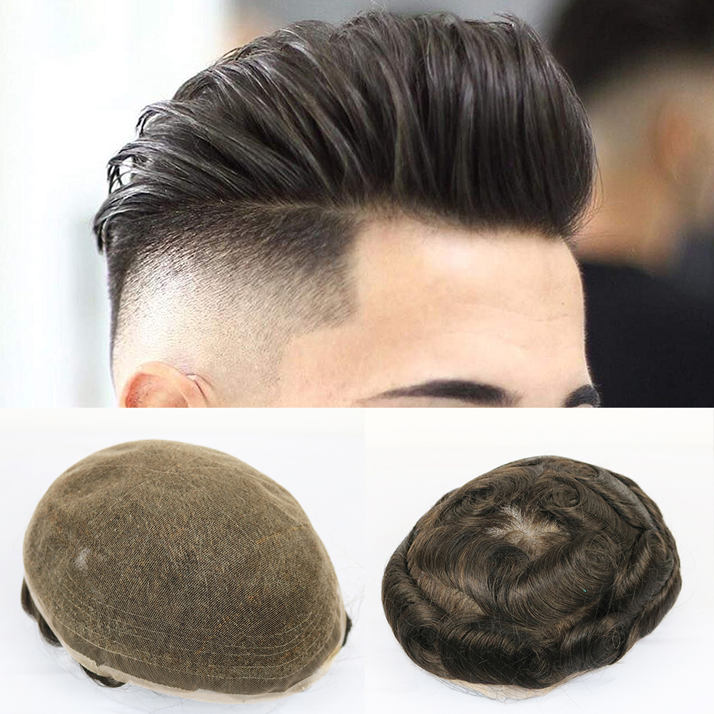 Swiss Full Lace Men's Toupee 1B Black Color Real Human Hair Mixed 80% Grey Synthetic Hair Replacement For Men Hairpiece