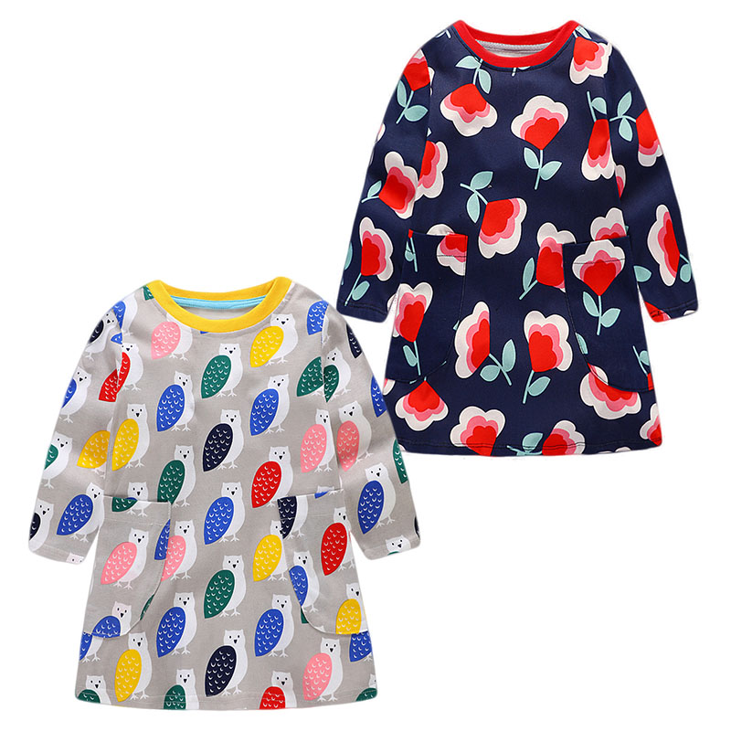 JOCESTYLE Colorful Leaves Owl Print Girls Kids Casual Dress Pockets Long Sleeve Clothing Bbay Girls O-neck Cute A-Line Dress