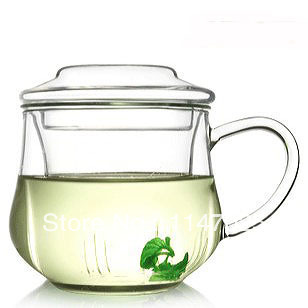 1 PC Longming Maison 280 ml haute qualité résistant à la chaleur fleur en verre café théière en verre OS 0076