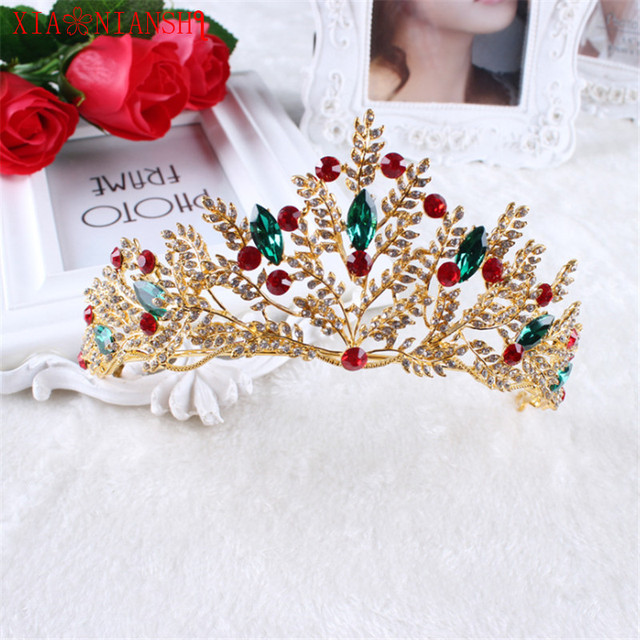 ... Crowns Princess Queen Pageant ... New Clear Wedding Bridal. XIAONIANSHI  New Baroque Style Gold Red Green Crystal Bridal Tiara . abb304bddc24