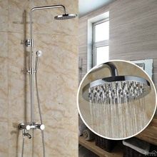 Wall Mount Bathroom Tub Shower Faucet Adjustable Height Shower Mixer Tap with Brass Handshower