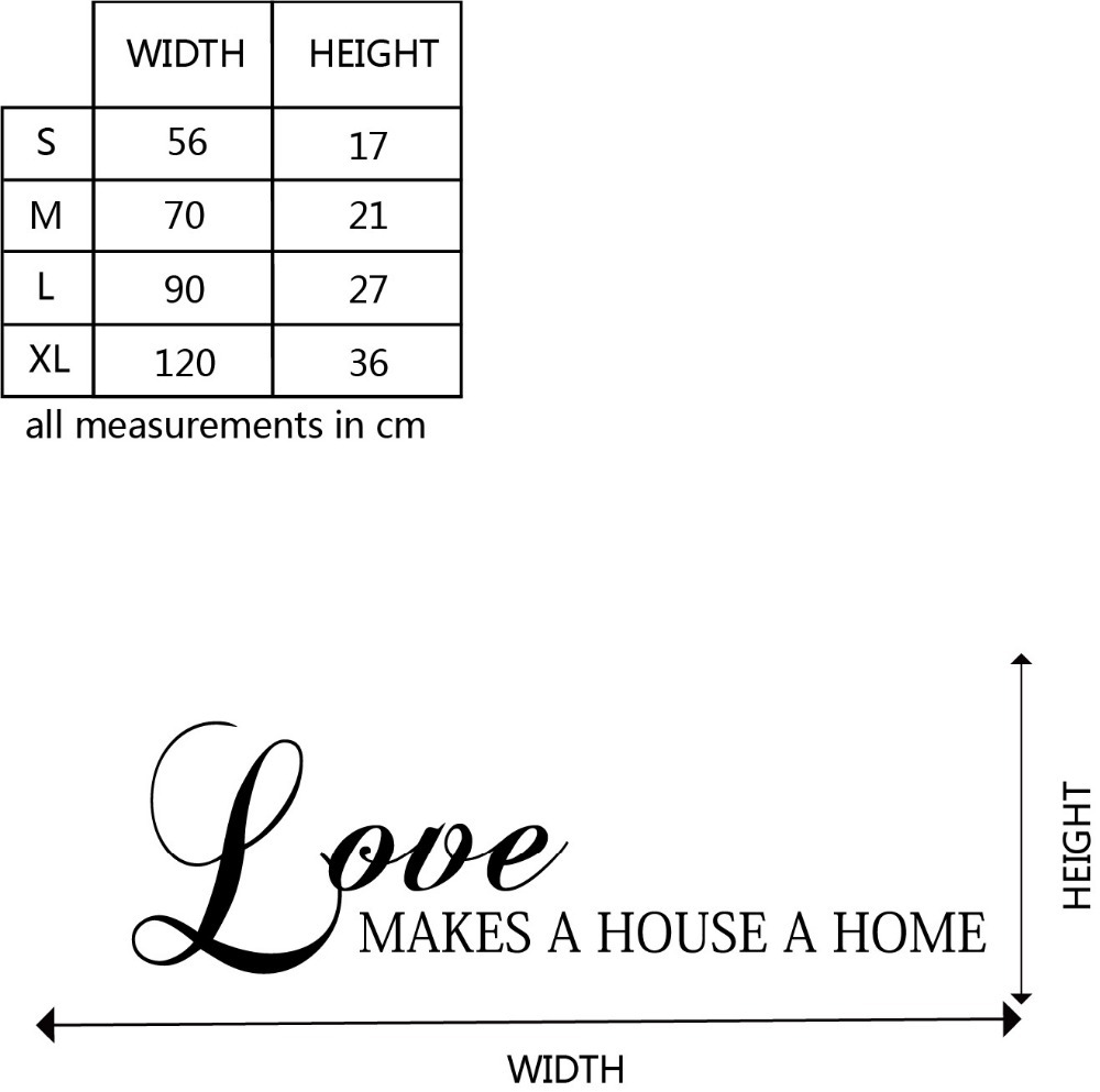 Love Makes A House Home Quotes Wall Sticker DIY Custom Colors Decorative Family Vinyl Decals Q144 In Stickers From