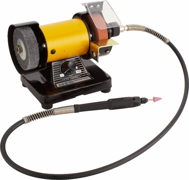 High Quality Mini Multi Purpose Bench Grinder and Polisher with Flexible Shaft, Tool Rest and Safety Guard