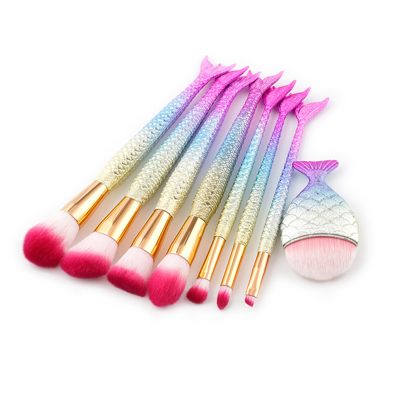7/8pc Professional Mermaid Makeup Brushes Set Foundation Blending Eyebrow Eyeliner Blush Blending Contour Cosmetic Make Up Tools newest mermaid makeup brushes set fantasy eyebrow eyeliner blush blending contour foundation cosmetic beauty make up fish brus