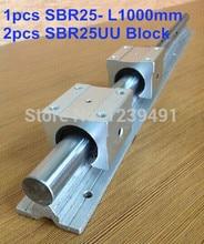 1pcs SBR25 L1000mm linear guide + 2pcs SBR25UU block free shipping 2pcs sbr25 1000mm linear bearing rails 4pcs sbr25uu bearing locks cnc x y z