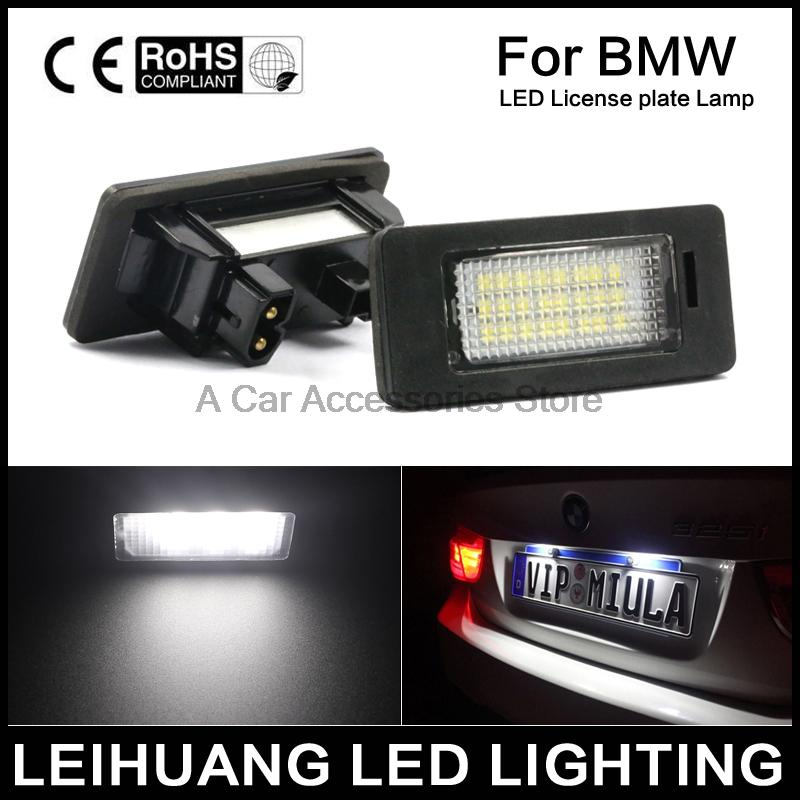 A Pair 24 LED 3528 SMD LED License Plate Lights Lamps Bulbs 6000K Cool White Fit For BMW E82 E90 E92 E93 M3 E39 E60 E70 X5 2pcs set led license plate light error free for bmw e39 e60 e61 e70 e82 e90 e92 24smd xenon white free shipping