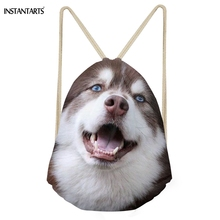 INSTANTARTS Casual Women Men Drawstrings Bags Cute 3D Dog Husky Print Storage Backpacks Multifunction Soft Basketball Beach Bags
