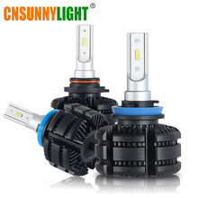 CNSUNNYLIGHT Fanless Canbus Car Headlights B2 LED H11/H8/H9 9005/HB3 9006/HB4 Bulbs Auto Driving fog Lamp White/Yellow 3600Lm(China)