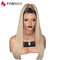 Fabwigs T1B/613 Blonde Full Lace Human Hair Wigs with Baby Hair Pre Plucked Ombre Hair Lace Wigs Brazilian Remy Hair
