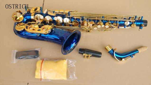 Brand New Ostrich ALTO SAXOPHONE Eb Sax - BLUE with GOLD keys, Non-stick Pads! Ne ...