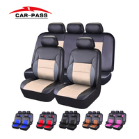 Car Pass Pvc Leather Car Seat Cover Universal Seat Covers Cushion Beige Red Pink Black Blue