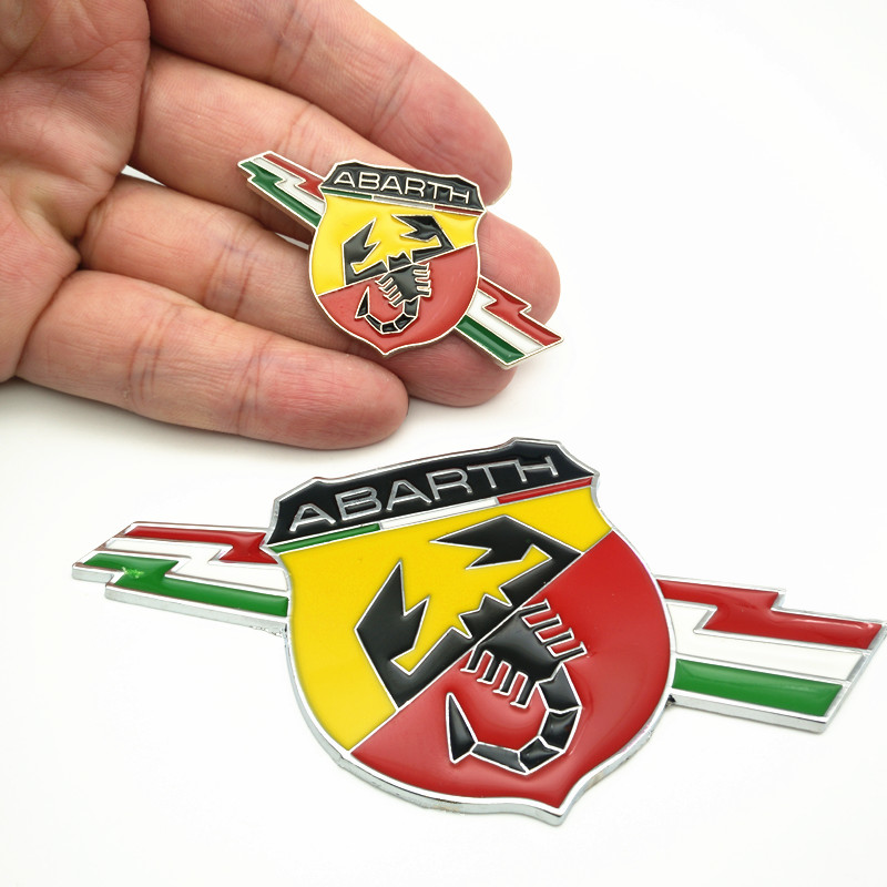 YONGXUN 3 styles 3D Metal Car Abarth Badge Emblem Decal Sticker Scorpion For All Fiat Abarth Punto 124/125/125/500 Car Styling auto chrome camaro letters for 1968 1969 camaro emblem badge sticker