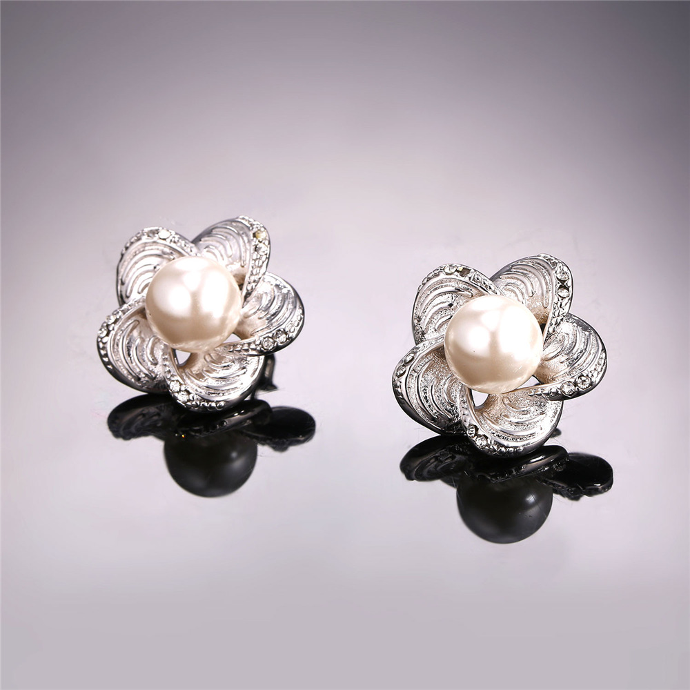 for gold women wholesale round stud feather rose trendy plated earrings p