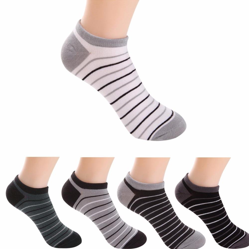 5 Pairs Men Socks Stripe Cotton Good Quality Casual Mesh Summer Breathable Sock For Men Stripe Cotton Short Sock