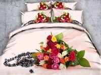 ロマンチックなバラの花3d反応性プリント寝具セットキルト/布団カバーベッドカバー女の子織500 tツイン女王王サイズウェディン