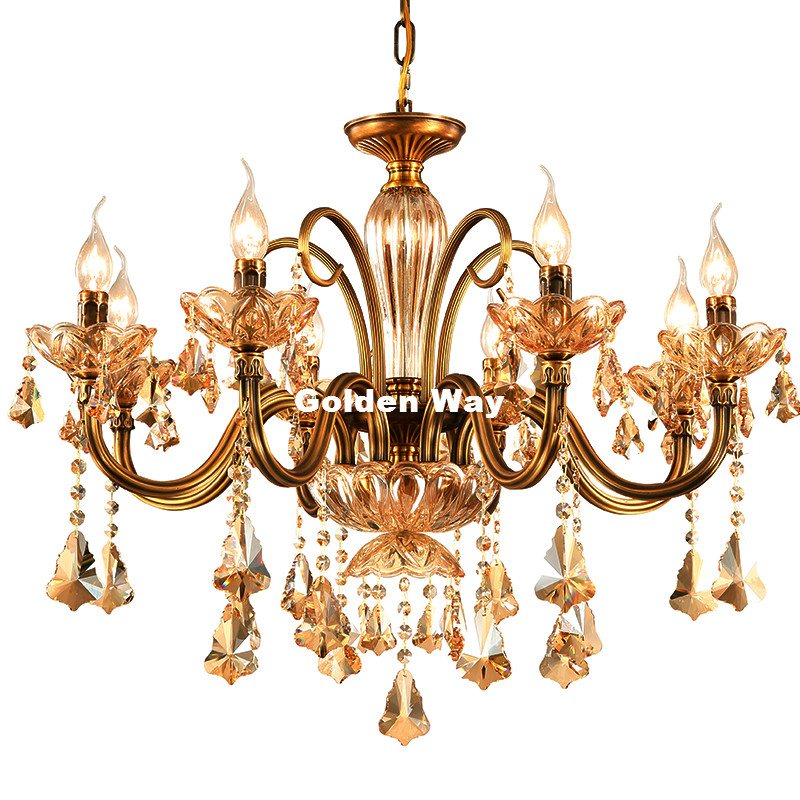 Free Shipping European Crystal Chandelier Living Room Lamps Dining Room Bedroom Copper Retro Chandelier Lighting 100% Guaranteed