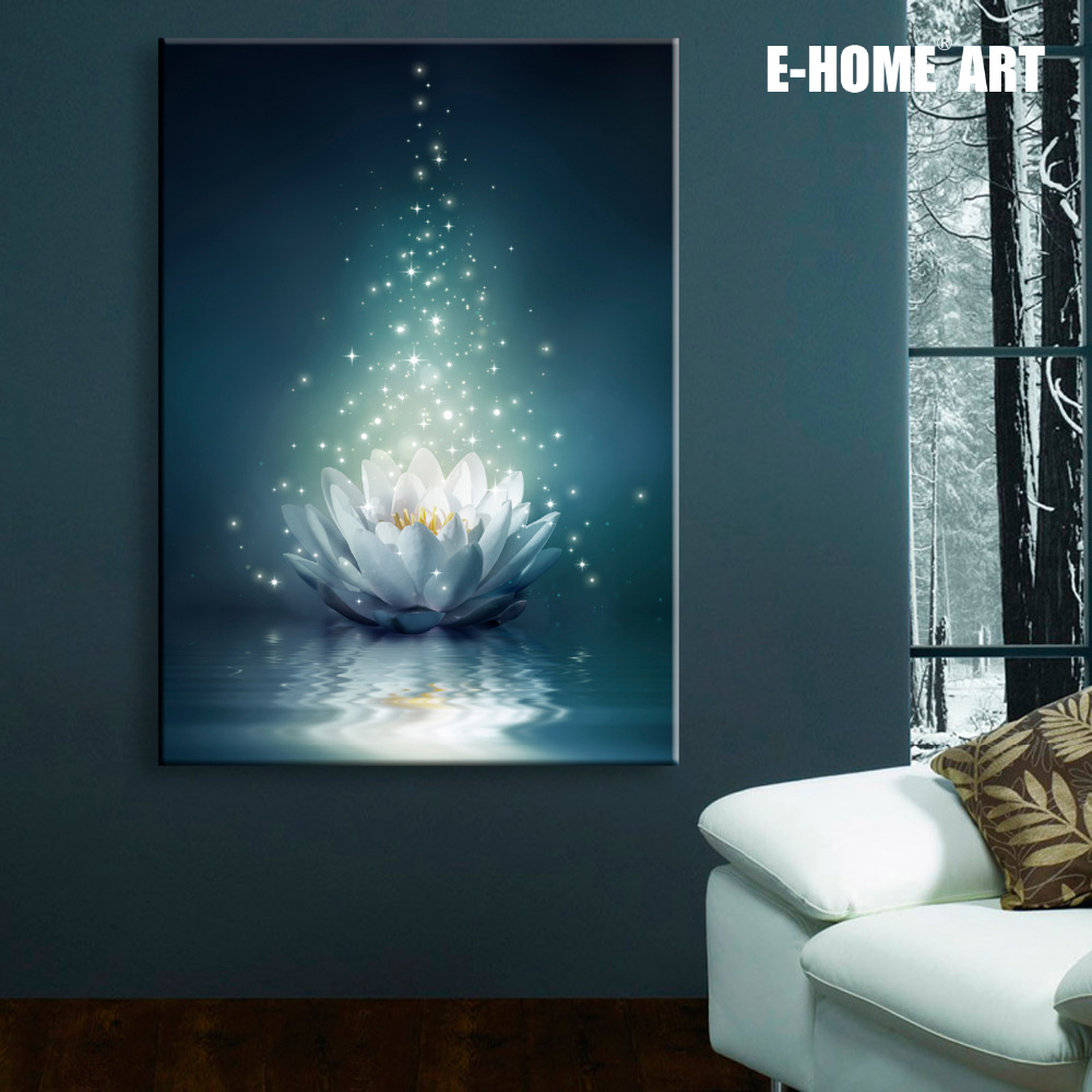 stretched canvas prints white lotus on the water led interstellar print led wall art led. Black Bedroom Furniture Sets. Home Design Ideas