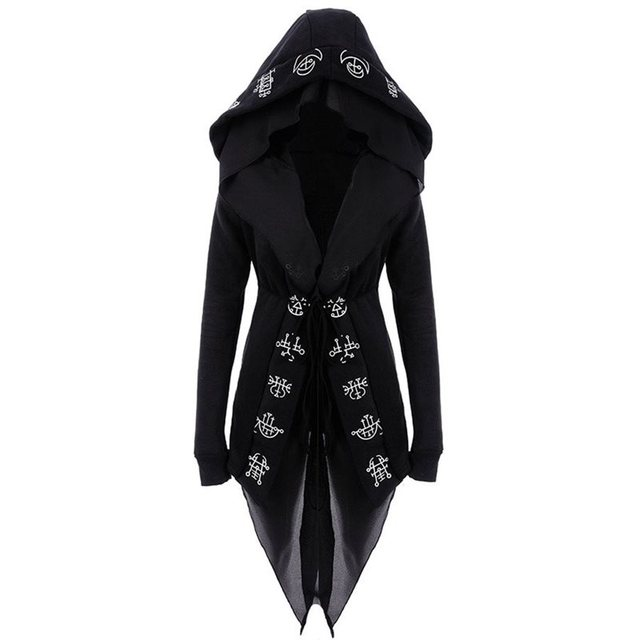 Rosetic Gothic Long Hooded Cape Coat Women Casual Top Autumn Oversized   Black Printed Slim Female Black Hooded Outerwear Coats