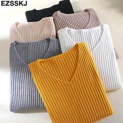 2019 базовый v-образный вырез, однотонный осенне-зимний женский свитер-пуловер, Женский вязаный обтягивающий свитер с длинными рукавами