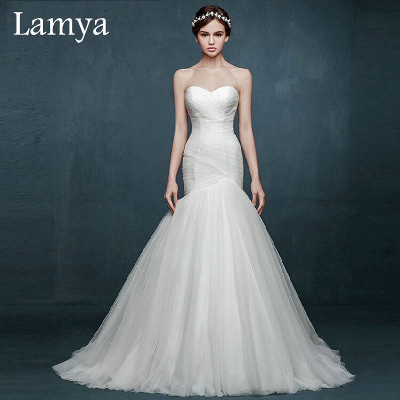 2016 Plus Size Simple Mermaid Wedding Dress Country
