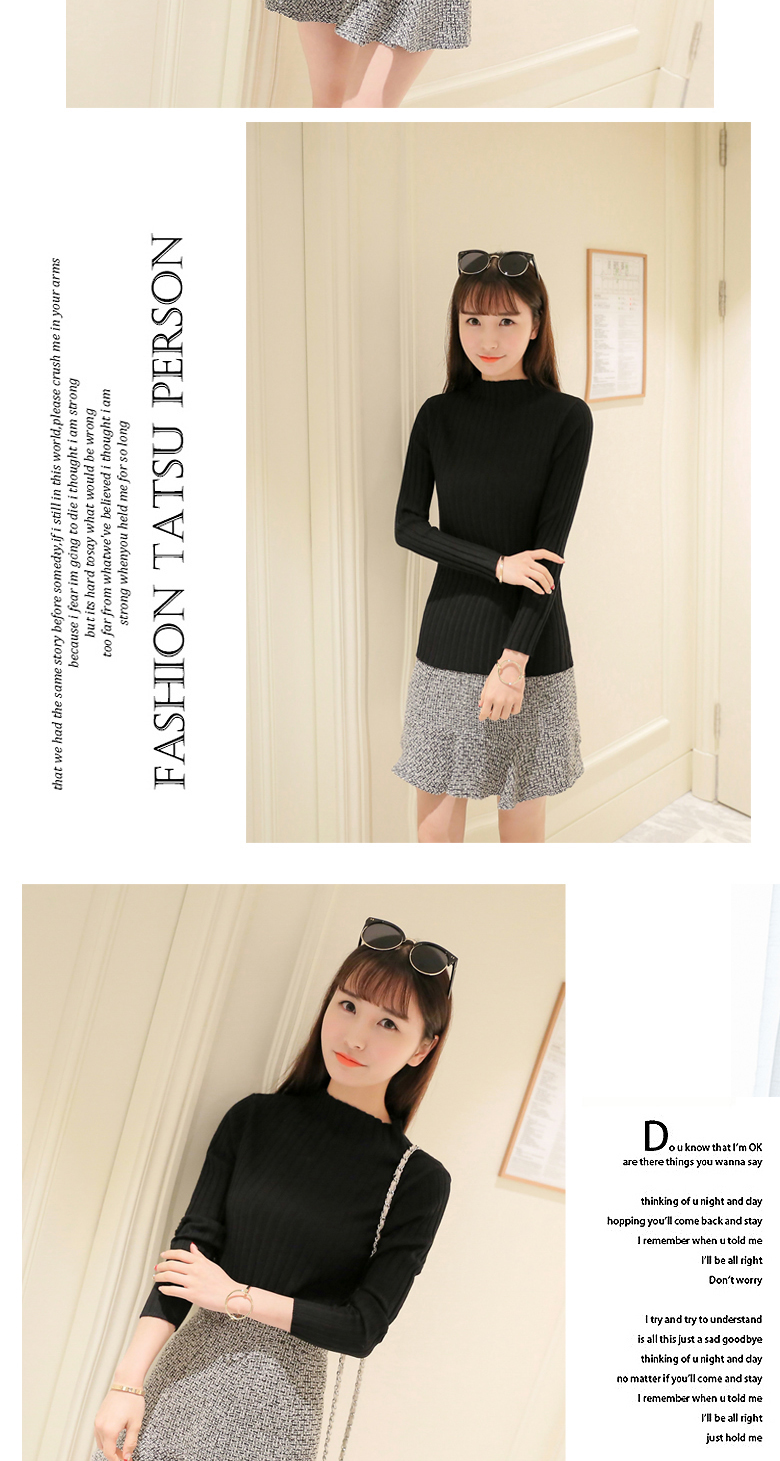 19 Autumn and winter New Korean Half turtleneck Sweater jacket Womens Long Sleeve Set head All-match knitted Sweater woman 25