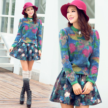 Europe 2014 new winter sweater knitting printing and embroidery wool pleated skirt suit female