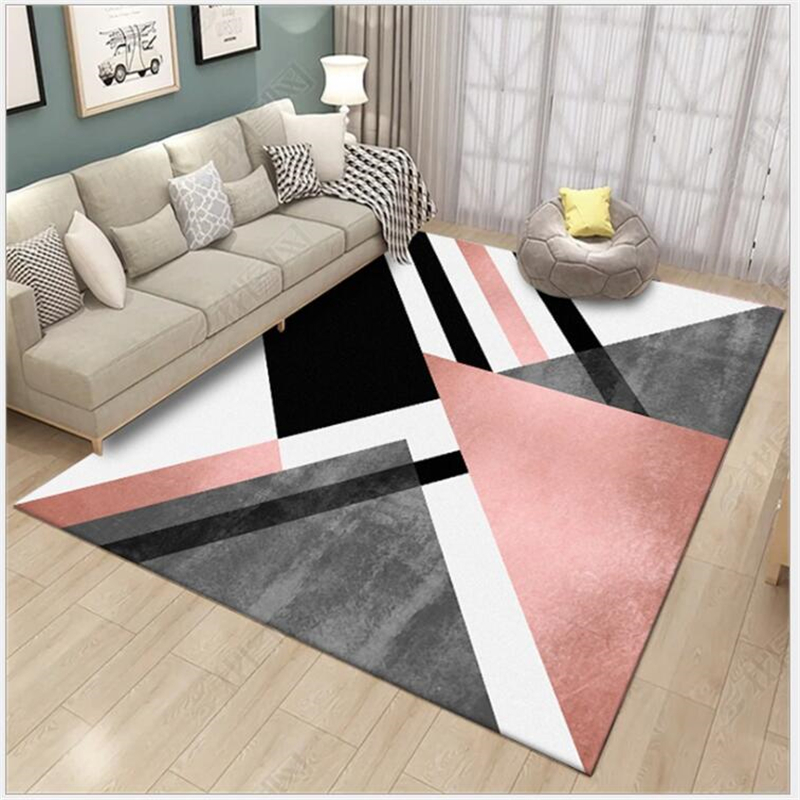 AOVOLL Large Soft Carpet Bedroom Rugs For Living Room Floor Mats Nordic Style Heavy Metal Powder Black Geometry Carpets Rugs
