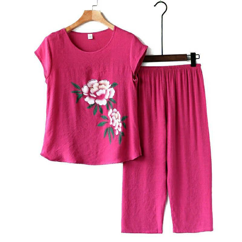 Женская футболка с короткими рукавами, летний комплект из хлопка и льна, женские свободные льняные брюки большого размера, комплект из двух предметов, топ и штаны