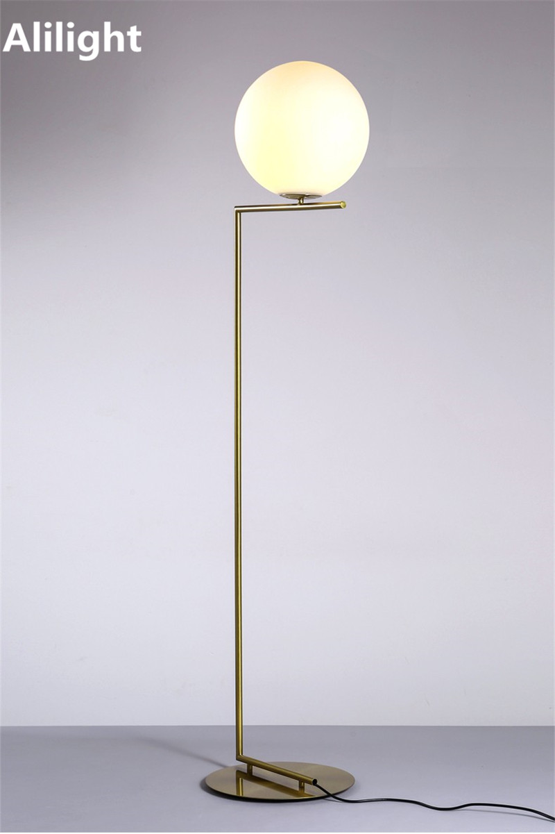 Creative simple floor lamps glass ball standing lamp chrome gold for ...