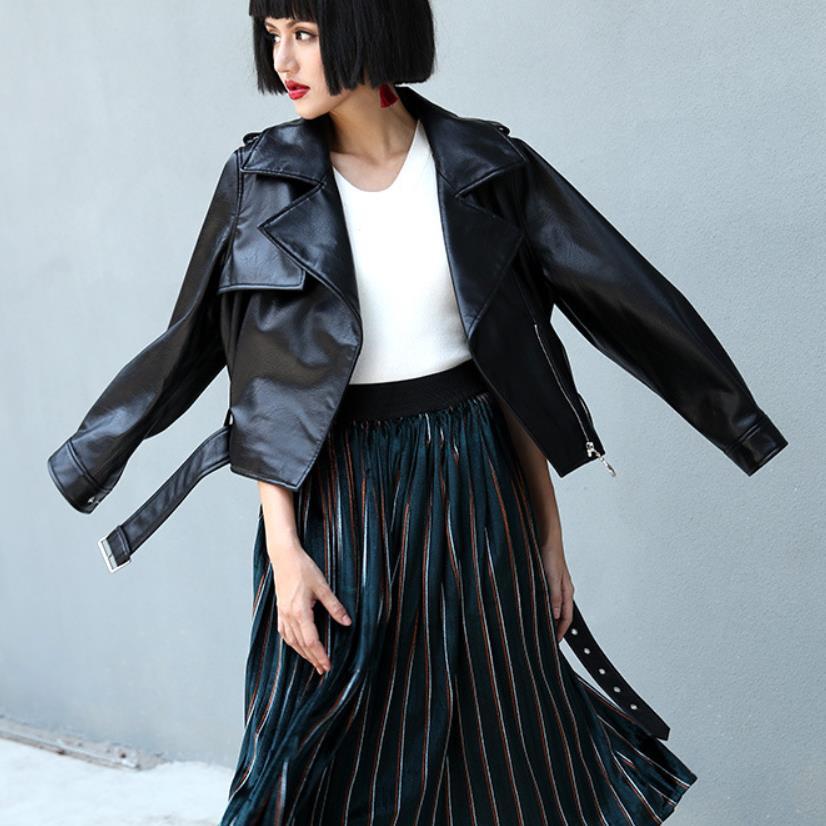 High quality women PU Faux   Leather   short jackets coats 2019 spring autumn new fashion belt zipper female coats gx1021