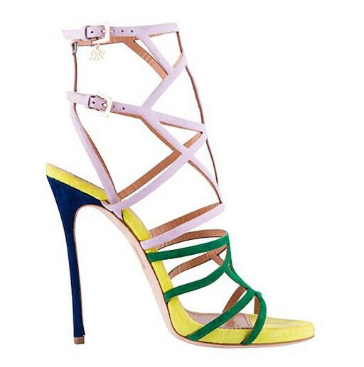 2018 Summer Mid-Calf Women Boots Multicolor Belt Buckle Narrow Strappy High Heel Snadals Booties Fastening Cut Outs Dress Pumps