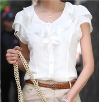 5XL Plus Size New Summer Women Fashion Short Sleeve Ruffles Chiffon Solid White Tops Blusas Casual