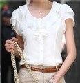 5XL Plus Size Mulheres Verão Novo Moda Manga Curta Chiffon Ruffles Sólido Branco Tops Blusas Camisa Blusas de Verão Casuais