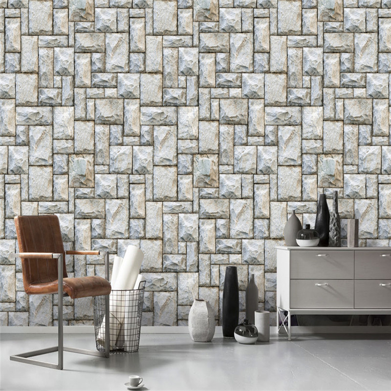 Vintage Wall Murals 3D Brick Wallpapers Stone Light Grey Wall Papers for Walls 3D Wallpapers for Living Room Bedroom Home Decor japanese style wallpapers for living room 3d flooring wood wall paper pvc living walls wallpapers roll 3d wall murals wallpaper