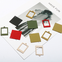 Geometric hollow square piece polished rubber paint color simple Pendant DIY handmade jewelry earrings fittings materials