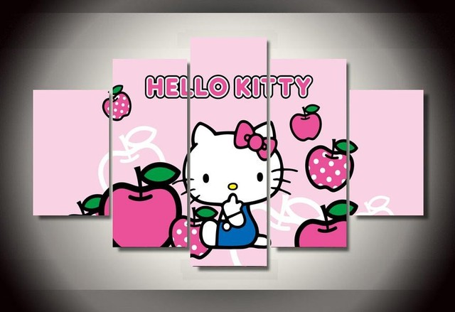 f56ea422c Hello Kitty canvas pictures lovely cartoon painting for your girl as a  birthday gift Cheap Wall picture Art Decor On canvas