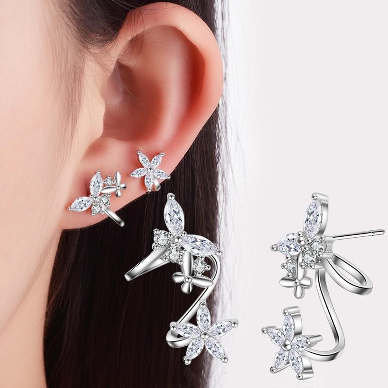 РУОИЕ Модне наушнице у облику цвијећа Лептир луксузна кристална минђуша за жене Јевелри у сребрној боји